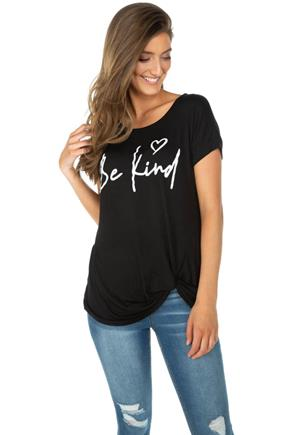 """Be Kind"" Graphic Tee with Knotted Hem"