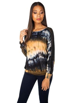 Tie-Dye Long Dolman Sleeve Top with Banded Bottom
