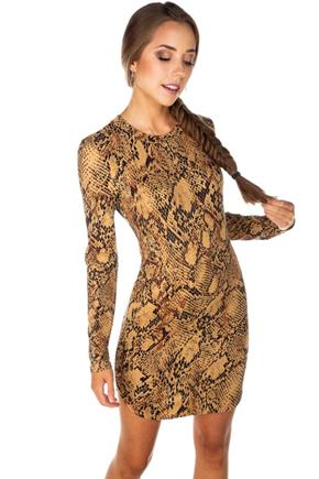 Snakeskin Long Sleeve Bodycon Dress with Shirttail Hem