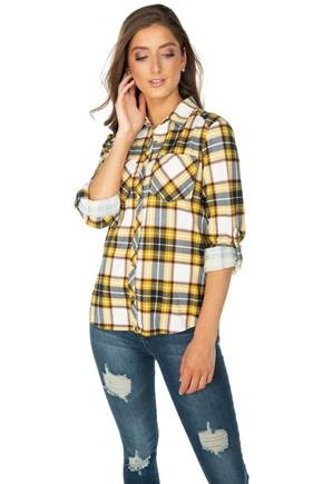 Mustard Plaid Cozy Knit Boyfriend Shirt with Roll-Up Sleeves