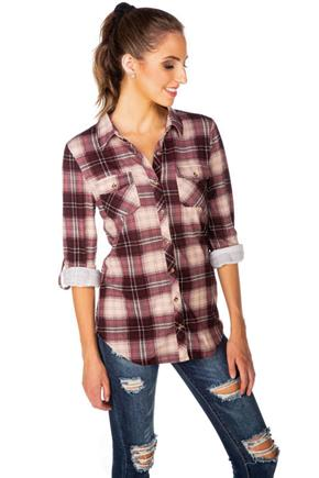 Plum Plaid Cozy Knit Long Sleeve Shirt with Roll-Up Sleeves