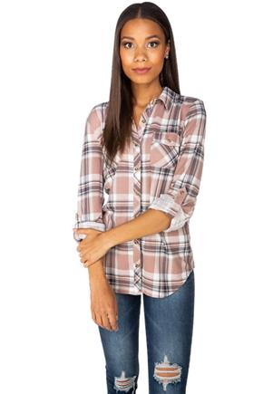 Blush Plaid Cozy Knit Long Sleeve Shirt with Roll-Up Sleeves