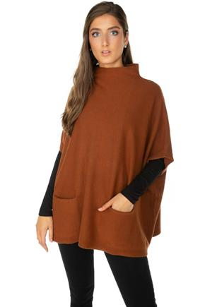 Mockneck Poncho with Pockets