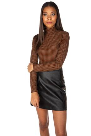 Houndstooth Long Sleeve Turtleneck