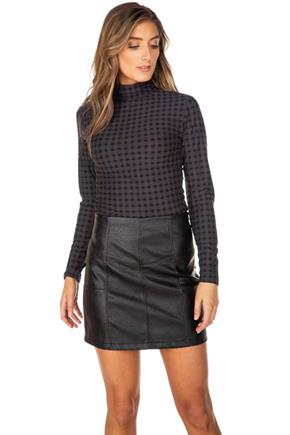 Shadow Plaid Long Sleeve Turtleneck