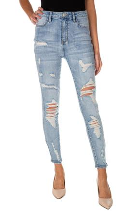 Almost Famous Mid-Wash Destructed High-Rise Skinny Jean