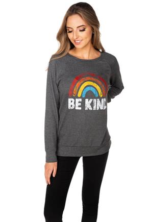 """Be Kind"" Rainbow French Terry Sweatshirt"