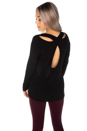 French Terry Long Sleeve Top with Crossover Back