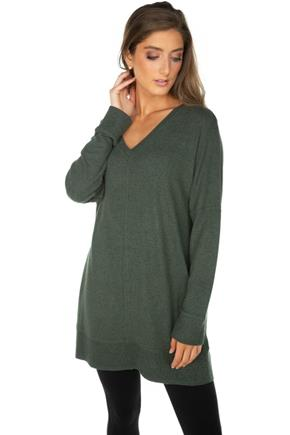 Supersoft Oversized V-neck Sweater with Flatlock Stitching