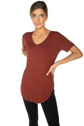 Short Sleeve V-Neck Top with Shirttail Hem