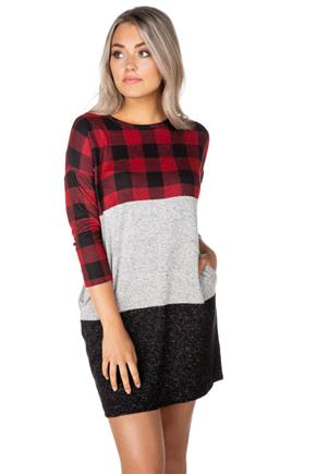 Supersoft Buffalo Plaid Colour-Block Dress with Pockets