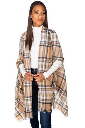 Plaid Ruana with Pockets