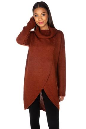 Knitted Crossover Turtleneck Tunic