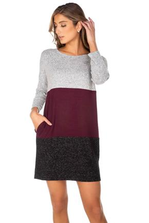 Supersoft Colour-Block Dress with Pockets
