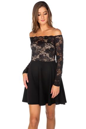 Lace Long Sleeve Off-the-Shoulder Skater Dress