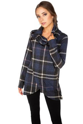 Plaid Brushed Crossover Cowl Neck with Buttons