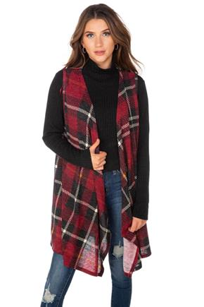 Brushed Plaid Vest