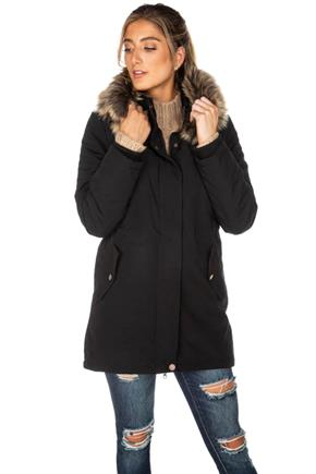 Tattoo High-Low Parka with Faux Fur Trim Hood