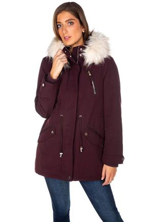 Tattoo Parka with Shiny Hardware and Faux Fur Trim Hood