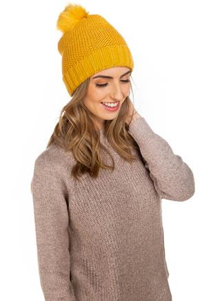 Monochrome Knit Hat with Pom Pom and Faux Fur Lining