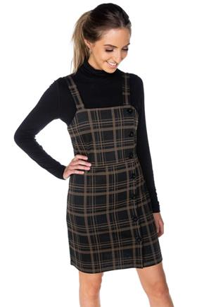 Kendra Plaid Bodycon Jumper with Buttons