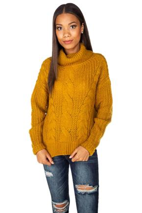 Hairy Cable Knit Turtleneck Sweater