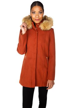 Faux Wool Hooded Coat with Faux Fur Trim