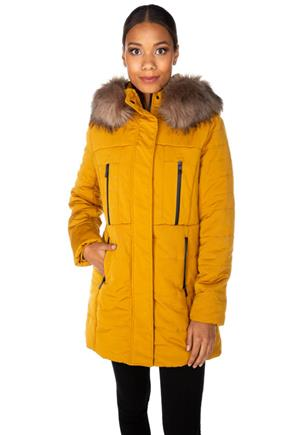 Tattoo Parka with Black Trim and Faux Fur Trim Hood
