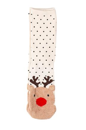 Fuzzy Red-Nosed Reindeer Socks