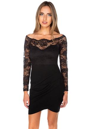Lace Off-the-Shoulder Bodycon Dress with Crossover Skirt