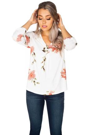 Floral Brushed Half-Placket Blouse with Roll-Up Sleeves