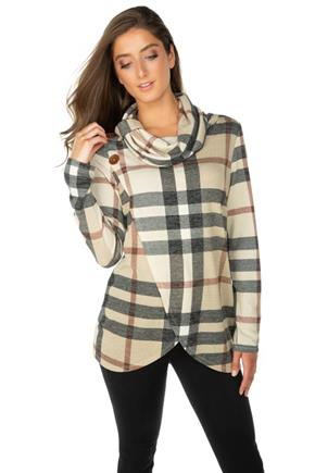Plaid Long Sleeve Crossover Cowl Neck with Buttons