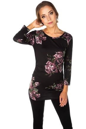 Floral Brushed 3/4 Sleeve Tunic with Ruched Sides