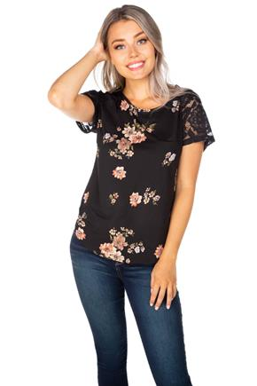 Floral Brushed Short Sleeve Top with Lace Trim