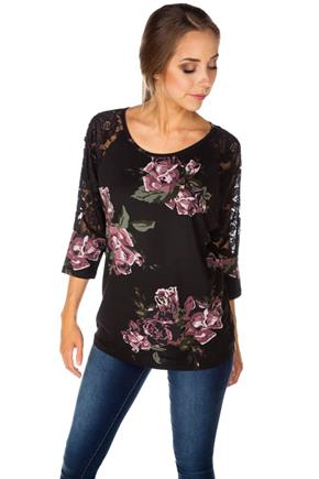 Floral Brushed Top with Lace 3/4 Dolman Sleeves