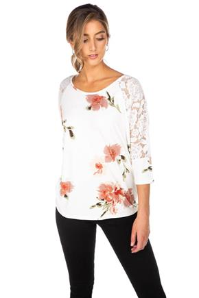 Floral Brushed Top with Lace Dolman Sleeves