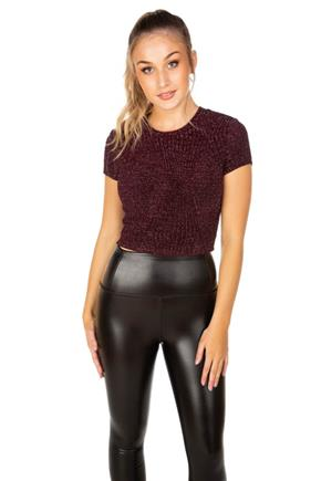 Glitter Short Sleeve Cropped Tee
