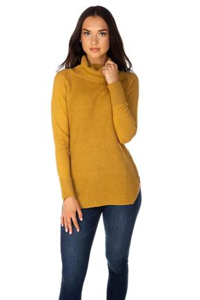 Knitted Long Sleeve Turtleneck with Angled Hem