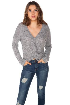 Mixed Knit Long Sleeve Knotted Front Sweater