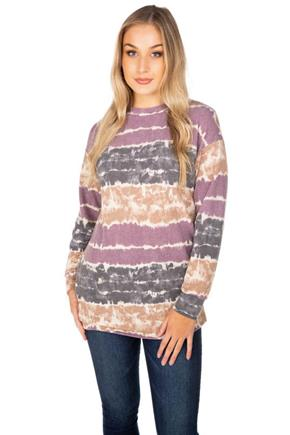 Striped Tie-Dye Tunic Length Sweatshirt