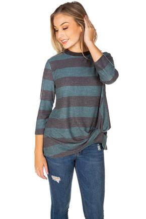 Rugby Stripe 3/4 Sleeve Sweatshirt with Knotted Hem