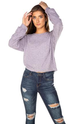 Brushed Balloon Sleeve Cropped Sweater
