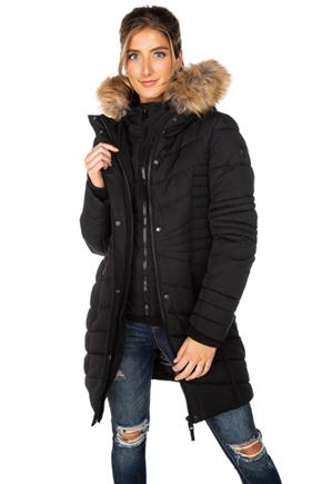 Point Zero Oxford Quilted Puffer with Faux Fur Trim Hood and Faux Vest
