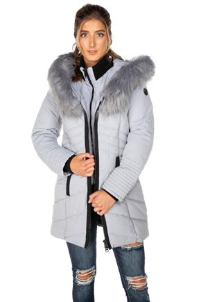 Point Zero Oxford Quilted Parka with Faux Fur Trim Hood and Faux Vest
