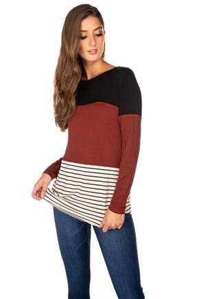 Colour Block and Stripe Long Sleeve Top