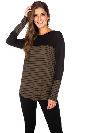 Stripe Long Sleeve Tunic with Button Detail