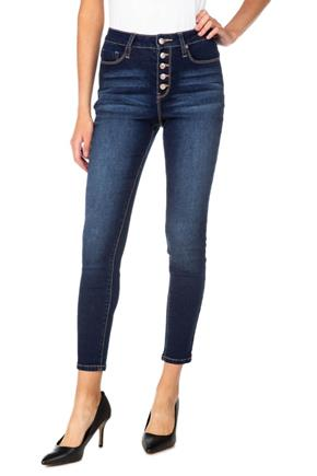 "YMI Dark Wash ""Hide Your Muffin Top"" Exposed Button-Fly Skinny Jean"