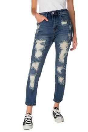 Almost Famous Dark Wash Distressed High-Rise Mom Jean