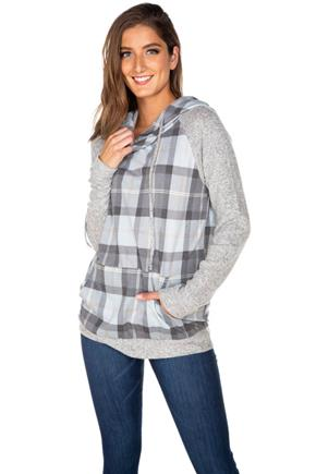 Plaid Hoodie with Supersoft Sleeves