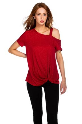 Glitter Off-the-Shoulder Top with Knotted Hem